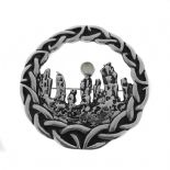 Outlander Inspired Standing Stones Silver Plated Brooch with Small Moonstone 1129